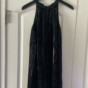 1 State Black Sequence Cocktail Dress